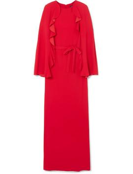 Cape Back Ruffled Crepe Gown by Goen J