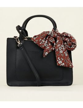 Black Floral Scarf Cross Body Bag by New Look