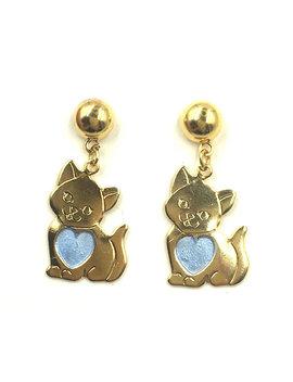 Vtg Sweet Kitty Stud Dangle Earrings by Etsy