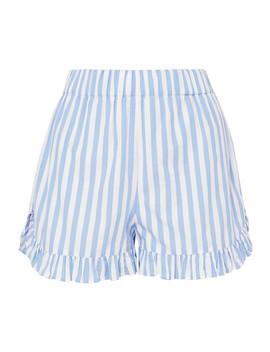 Swimton Ruffled Striped Cotton Shorts by Ganni