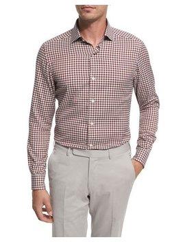 Check Cotton Shirt, Burgundy/Ivory/Gray by Ermenegildo Zegna