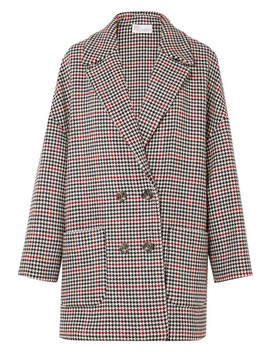 Oversized Houndstooth Tweed Coat by Red Valentino