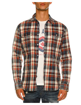 Bleached Check Print Shirt by Dsquared2