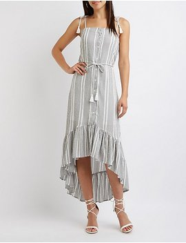 Striped High Low Maxi Dress by Charlotte Russe