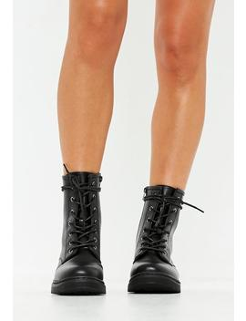 Black Chunky Sole Lace Up Ankle Boots by Missguided