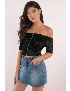 Ring Leader Black Crop Top by Tobi