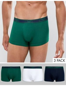 Emporio Armani 3 Pack Eva Logo Trunks In White/Green/Navy by Emporio Armani
