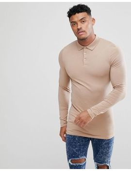 Asos Design Longline Muscle Fit Long Sleeve Polo by Asos