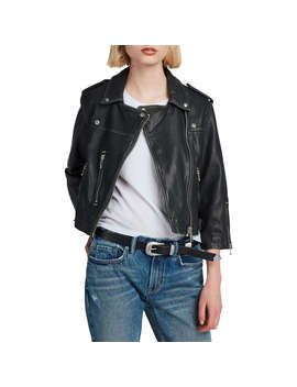 All Saints Lara Leather Biker Jacket, Black by Allsaints