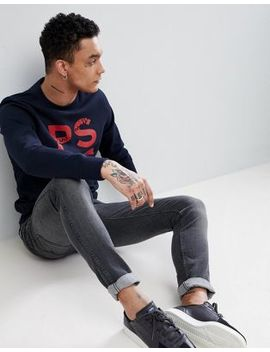 Ps Paul Smith Ps Logo Crew Neck Sweat In Navy by Ps Paul Smith