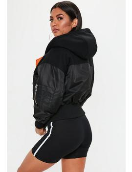Black Oversized Hooded Bomber Jacket by Missguided