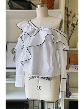 Self Portrait *Genuine* Asymmetric White Ruched Shirt Top Uk12 by Self Portrait