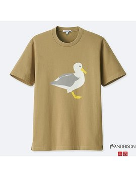 J.W.Anderson 100 Percents Cotton Short Sleeve Graphic Seagull T Shirt by Uniqlo