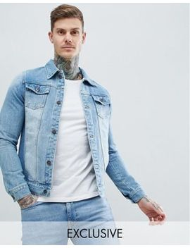 Liquor N Poker Denim Jacket Classic Trucker Stonewash by Asos