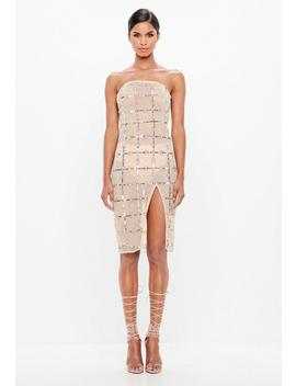 Peace + Love Nude Grid Embellished Bandeau Midi Dress by Missguided