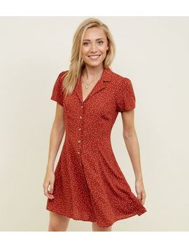 Petite Rust Spot Print Button Through Tea Dress by New Look