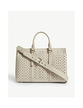 Picton Laser Cut Leather Tote by Reiss