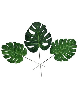20pcs Fake Faux Artificial Tropical Palm Leaves Green Monstera Leaves For Home Kitchen Party Decorations Handcrafts Wedding Diy by Ali Express