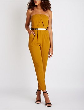 Strapless Belted Jumpsuit by Charlotte Russe