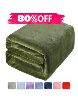 Lbro2 M Fleece Bed Blanket Super Soft Warm Fuzzy Velvet Plush Throw Lightweight Cozy Couch Twin/Queen/King Size (Queen(90 By 90 Luches), Green) by Lbro2 M