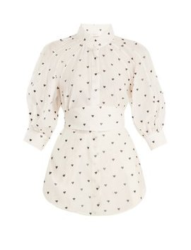 Painted Heart Embroidered Cotton Blend Shirt by Zimmermann