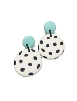 Dangle Janes // Polymer Clay Dangle Earrings // Drop Stud Earrings // Mint + White With Black Spot // Statement Earrings by Etsy