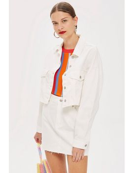 White Denim Jacket And Mini Skirt Set by Topshop