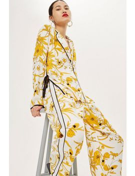 Linear Floral Pyjama Style Shirt And Trousers Set by Topshop