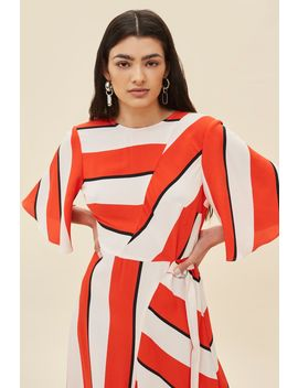 Petite Diagonal Striped Midi Dress by Topshop