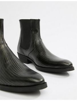 Asos Design Cuban Heel Boots In Black Leather With Snake Texture by Asos Design