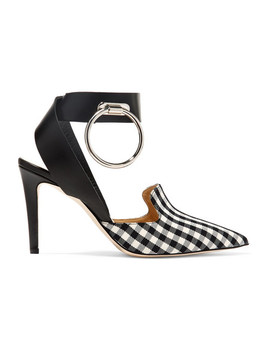 Embellished Leather And Gingham Twill Pumps by Monse