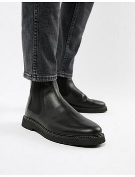 Asos Design Chelsea Boots In Black Leather With Chunky Sole by Asos Design