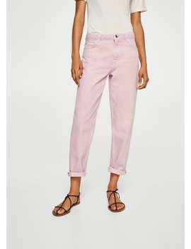 Dżinsy Straight Różowe by Mango