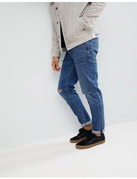 Asos Slim Jeans In Vintage Dark Wash With Knee Rips by Asos