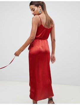 Asos Design Satin Wrap Maxi Dress by Asos Design