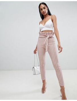 Pretty Little Thing Pinstripe Paperbag Skinny Trousers by Pretty Little Thing