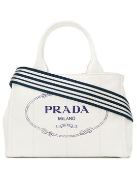 Prada White Logo Medium Canvas Tote Baghome Women Bags Tote Bags by Prada