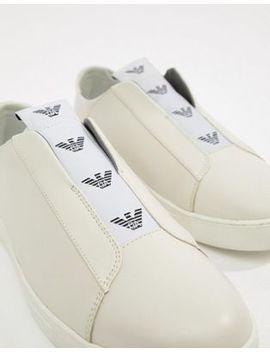 Emporio Armani Logo Slip On Trainers In White by Emporio Armani