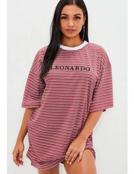 Red Striped Leonardo Slogan T Shirt Dress by Missguided