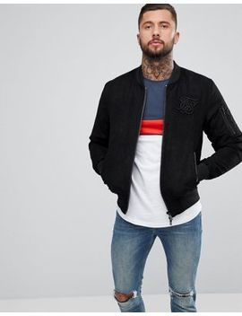 Sik Silk Bomber Jacket In Black Suedette by Sik Silk