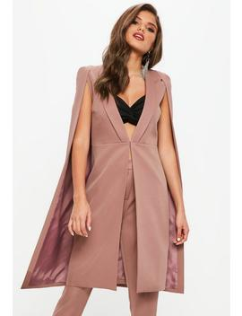 pink-longline-cape-blazer by missguided
