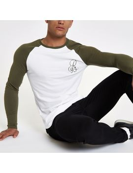 Khaki Raglan Embroidered Muscle T Shirt by River Island
