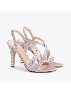 Crisscross Strappy Heels (105mm) In Glitter by J.Crew
