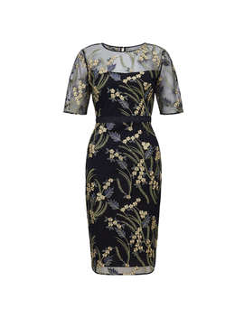 Hobbs Phoebe Embroidered Dress, Navy/Multi by Hobbs