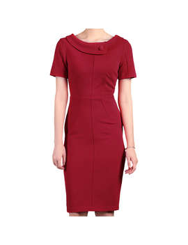 Jolie Moi Collared Dress, Red by Jolie Moi