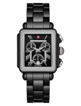 'deco Diamond' Diamond Dial Ceramic Bracelet Watch, 33mm by Michele