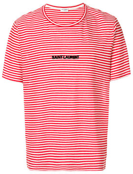 Saint Laurentstriped Logo T Shirthome Men Clothing T Shirts by Saint Laurent