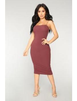 Saylor Rib Midi Dress   Marsala by Fashion Nova