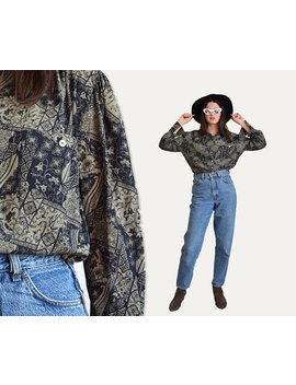 Vintage Floral Blouse, 80s Blouse, 80s Retro Top, Bishop Sleeves, Long Sleeved Blouse, Button Up Blouse, 80s Clothing, Loose Blouse by Etsy