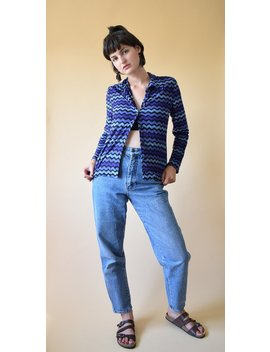 Vintage 90s Striped Top, Blue Top, 90s Retro Blouse, Button Up Blouse, Long Sleeved Top, Stretchy Top, Grunge Top, Striped Sweater by Etsy